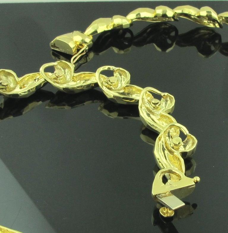 Women's or Men's 18 Karat Gold Hammered Necklace For Sale