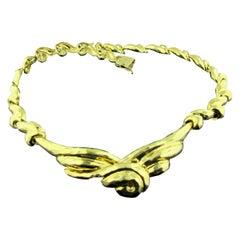 18 Karat Gold Hammered Necklace