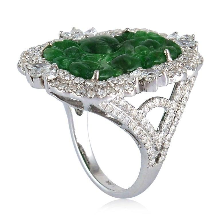 Modern Carved Jade Diamond 18 Karat Gold Ring For Sale