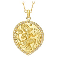 18 Karat Gold, Hand-Carved Amulet with 40 Rose-Cut Diamonds