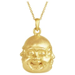 18 Karat Gold Hand Carved Four Faced Buddha Necklace