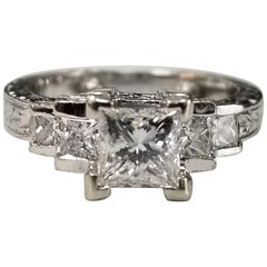 18 Karat Gold Hand Engraved Diamond Princess Cut Ring Total Weight 1.30 Carat