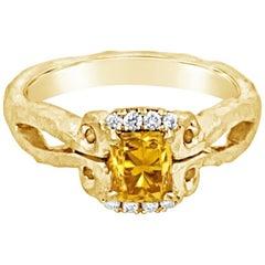 18K Hand-Hammered Engagement Ring with 0.80 Carat Orange Diamond Center