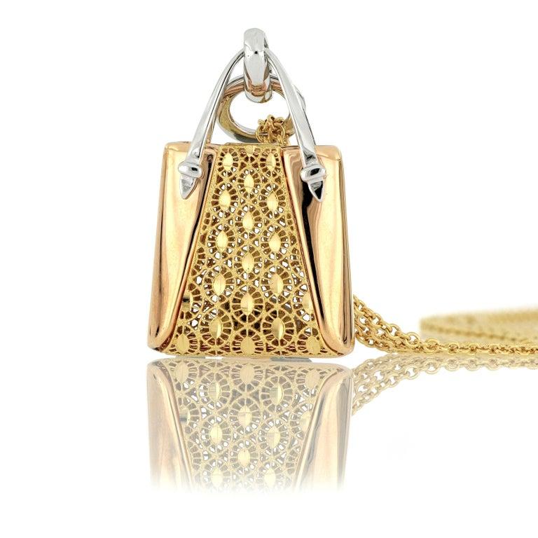 Contemporary 18 Karat Gold Handbag Pendant with Necklace For Sale