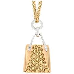 18 Karat Gold Handbag Pendant with Necklace