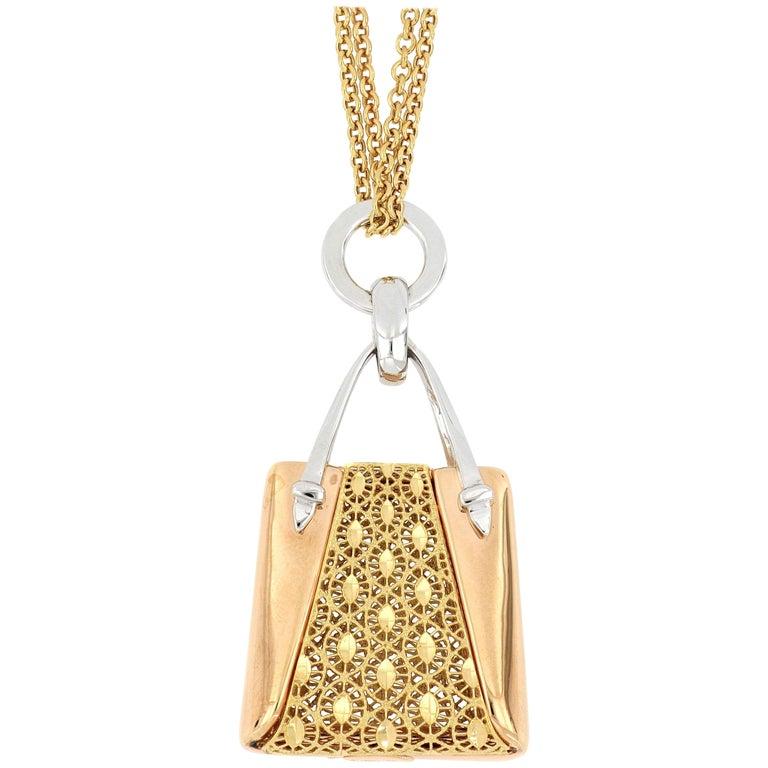 18 Karat Gold Handbag Pendant with Necklace For Sale