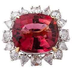 18 Karat Gold Handcrafted Dried Rose Rubellite and Diamond Ring