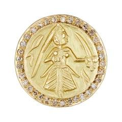 18 Karat Gold Handmade Amulet Ring Featuring the Goddess Durga with Diamonds
