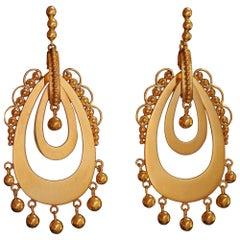 18 Karat Gold Handmade Chandelier Earrings