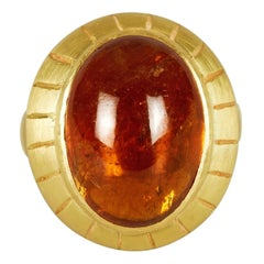 18 Karat Gold Handmade Ring, Set with Cabochon Hessonite Garnet