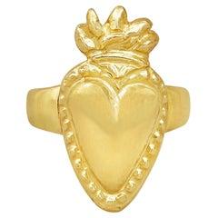 18 Karat Gold Handmade Solid Flaming Heart Ring