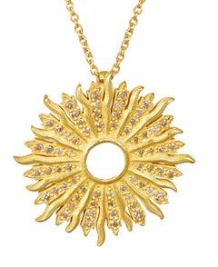 18 Karat Gold Handmade Sunburst Pendant with 64 Brilliant Cut Diamonds