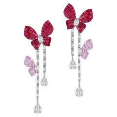 18 Karat Gold Hanging Butterfly Earrings with Diamonds, Rubies and Sapphires