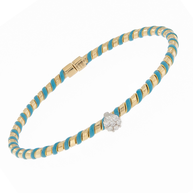 18 Karat Gold Hard Enamel Diamond Bracelet