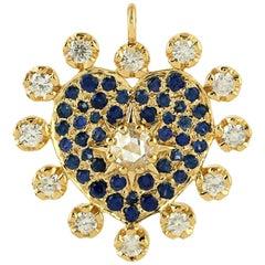 18 Karat Gold Heart Diamond Blue Sapphire Charm Pendant Necklace