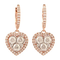 Heart 18 Karat Gold Diamond Earrings