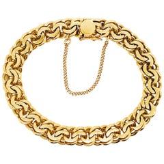 18 Karat Gold Heavy Link Charm Bracelet, Yellow Gold Large Chain Bracelet