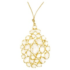 18 Karat Gold Herkimer Invisible Pendant on Cord