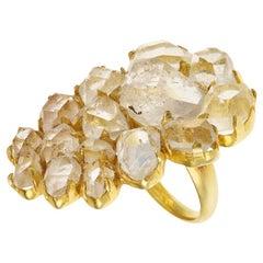 18 Karat Gold Herkimer Large Linear Invisible Ring