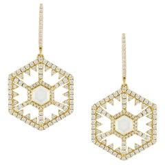 18 Karat Gold Hexagon Dangle Earrings w/White Mother of Pearl, Quartz & Diamonds
