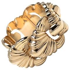 18 Karat Gold Highly Stylized Cuff Bracelet