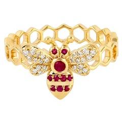 18 Karat Gold Honey Bee Diamond Ruby Ring