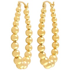 18 Karat Gold Hoop Sphere Earrings