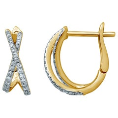 Diamond  Hoop 18 Karat Gold X Earrings