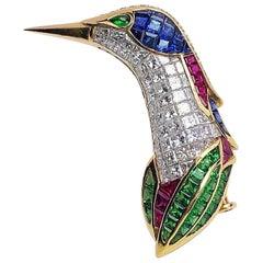 18 Karat Gold Humming Bird Brooch with Invisibly Set Diamonds and Gem Stones