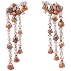 18 Karat Gold Icicle Raw Natural 10.25 Carat Diamond Earrings
