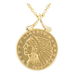 18 Karat Gold Indian Head Half Eagle $5.00 Coin Necklace by Michael Bondanza