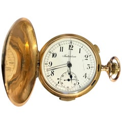 18 Karat Gold 'Initiative' Full Hunter Quarter Repeater Chronograph Pocket Watch