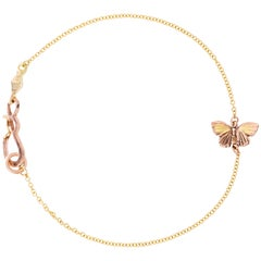 18 Karat Gold Inlay 14k Gold Tiny Asterope Hinge Butterfly Chain Bracelet