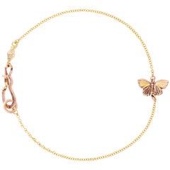 18 Karat Gold Inlay 14k Gold Tiny Asterope Hinge Butterfly Chain Bracelet