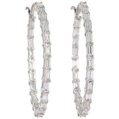 18 Karat Gold Inside Out Baguette Diamond Hoop Earrings