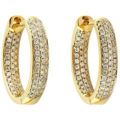18 Karat Gold Inside Out Diamond Huggie Hoop Earrings