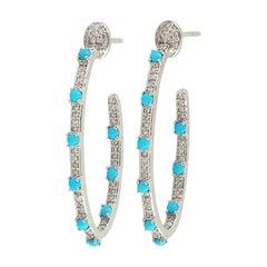 18 Karat Gold Inside Out Turquoise Diamond Hoop Earrings