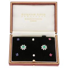 18 Karat Gold Interchangeable Boxed Diamond Earring Set