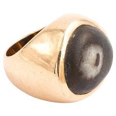 18 Karat Gold Italian Beach Stone Ring