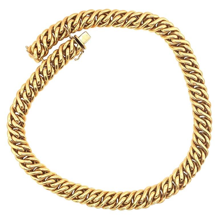 18 Karat Gold Italian Necklace For Sale