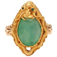 18 Karat Gold Jade Dragon Ring