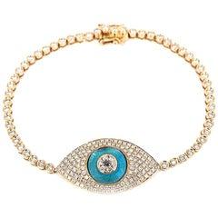 18 Karat Gold Jumbo Evil Eye Diamond Pave Tennis Bracelet with Blue Topaz