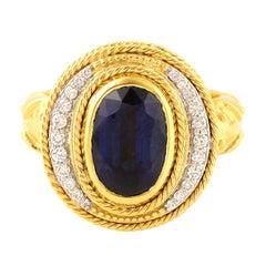 18 Karat Gold Kyanite Diamond Cocktail Ring