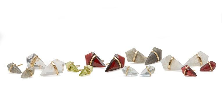 Artisan 18 Karat Gold Labordorite Stud Earrings For Sale