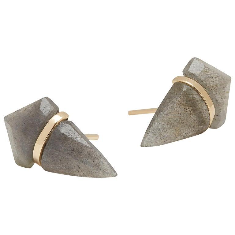 18 Karat Gold Labordorite Stud Earrings For Sale