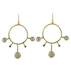 18 Karat Gold Labradorite and Champagne Diamond Orbit Earrings