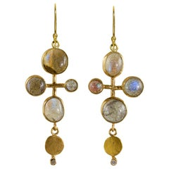 18 Karat Gold Labradorite and Diamond Quatrefoil Earrings