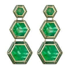 18 Karat Gold, Lacquer Enamel and Emeralds Jaipur Bouganvillea Muzo Earrings
