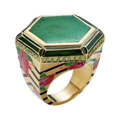 18 Karat Gold, Lacquer Enamel, Diamond Jaipur Bouganvillea Muzo Emerald Ring