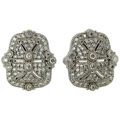 18 Karat Gold Ladies Clip-On Earrings with Diamonds, by JR, circa 2000s